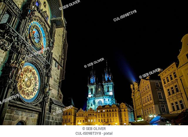 Church of Our Lady before Týn and Astronomical Clock tower, Old Town Square, Prague, Czech Republic