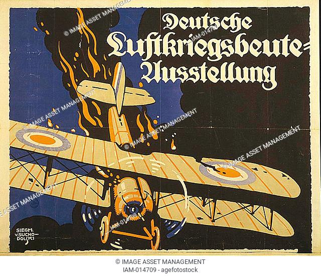World War I 1914-1918: Demonstration of German airforce effectiveness. 1918 German propaganda poster of British biplane going down in flames