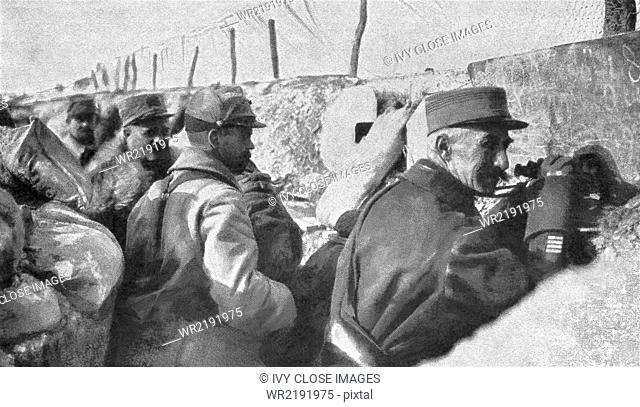 Allied soldiers in the trenches watch for enemy German soldiers during World War I