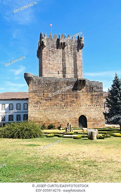 Tower of the castle in Chaves, Vila Real, north of Portugal