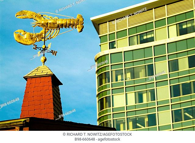 Lobster weather vane and building in Boston, USA