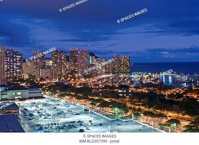 Honolulu, Waikiki Skyline at Twilight