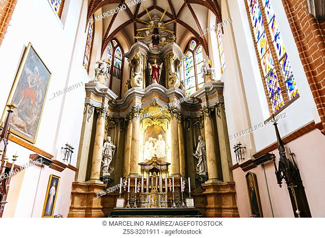 Nave and main altar, St. Anne's Church is a Roman Catholic church in Vilnius Old Town. It is a prominent example of both Flamboyant Gothic and Brick Gothic...