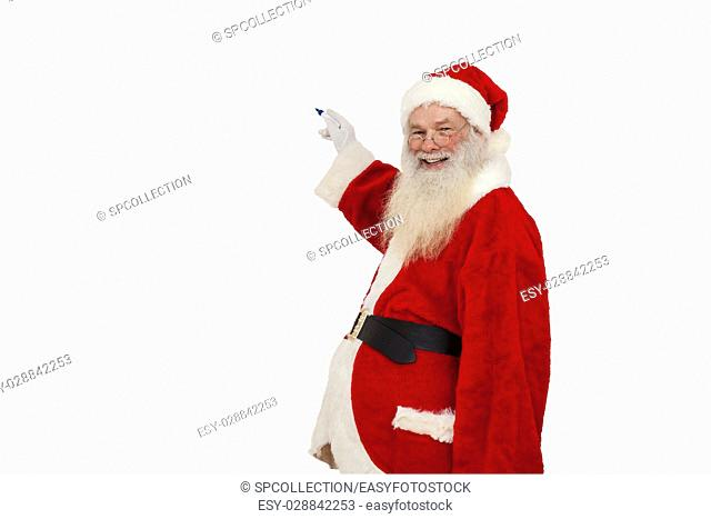 Santa Claus writing and smiling (isolated)