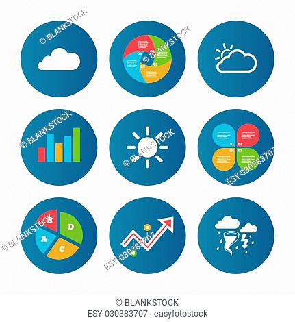 Business pie chart. Growth curve. Presentation buttons. Weather icons. Cloud and sun signs. Storm or thunderstorm with lightning symbol