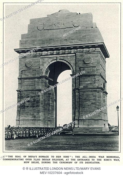 The All-India War Memorial commemorating over 70,000 Indian soldiers at the entrance to the King's Way, New Delhi, during the ceremony of its dedication