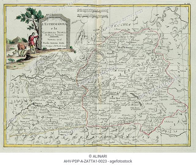 Extremadura and Castilla la Nueva, engraving by G. Zuliani taken from Tome I of the Newest Atlas published in Venice in 1776 by Antonio Zatta