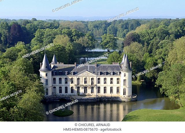 France, Oise, Ermenonville, the castle of Ermenonville (aerial view)