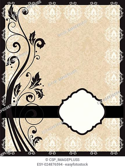 invitation with floral frame