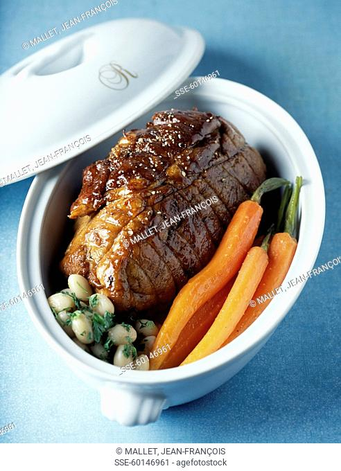 Braised veal rump with carrots and Paimpol beans