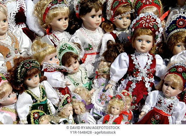 Hungary, Budapest Pest, Dolls in folkloric and traditional dresses at a souvenir shop on Vaci Street