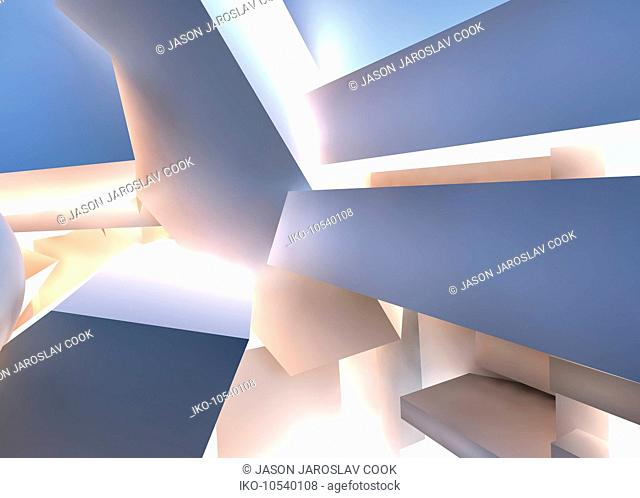 Abstract backgrounds pattern of pile of three dimensional shapes