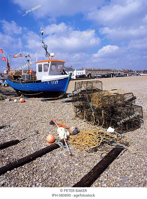 Fishing boats on the shingle beach at the Suffolk resort of Aldebugh