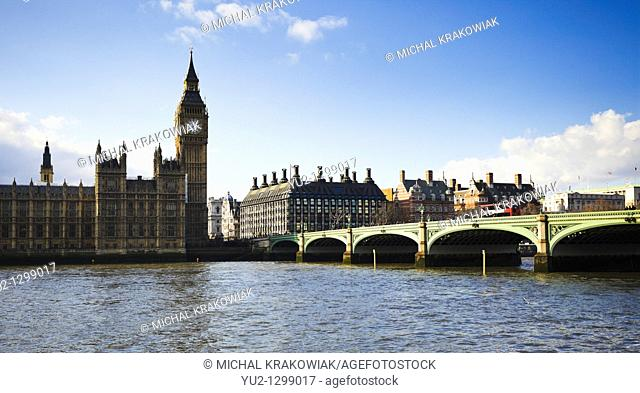 London landmarks: Palace of Westminster, Big Ben and Westminster Bridge