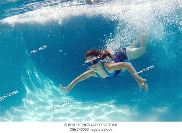 Young girl underwater