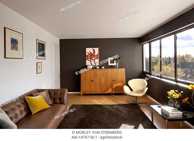 Modern living room in apartment in Highpoint One, Highgate, London