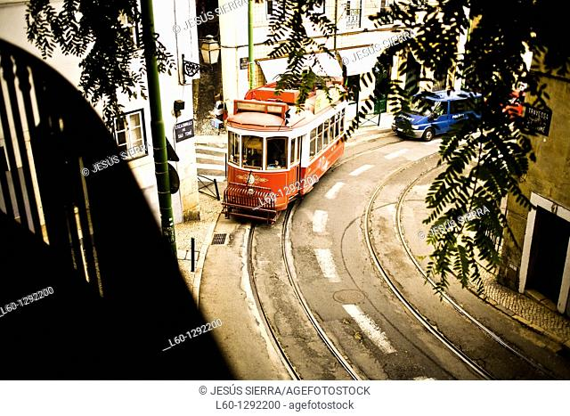 Red tram in Lisbon, Portugal