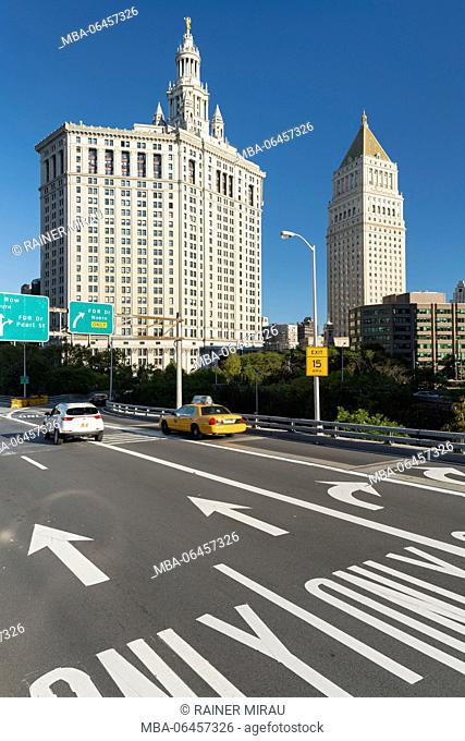 Manhattan Municipal Building, United States court, Brooklyn Bridge, Manhattan, New York city, New York, the USA