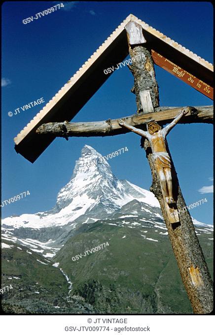 Wayside Shrine with Matterhorn Mountain in Background, Zermatt, Switzerland, 1964