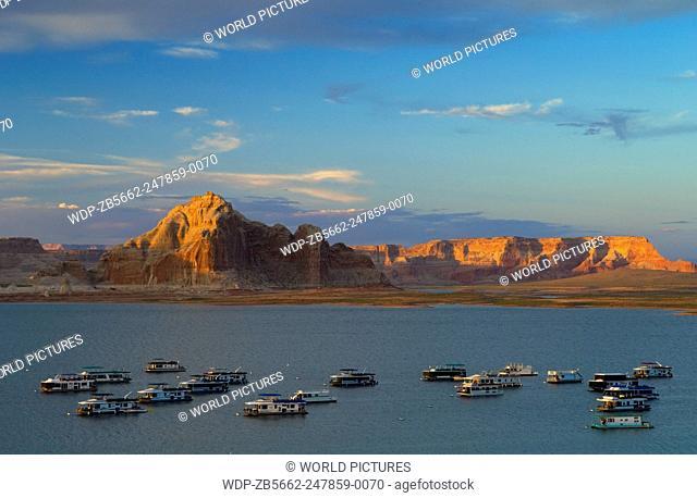 Houseboats at Wahweap Marina on Lake Powell; Glen Canyon National Recreation Area, Arizona