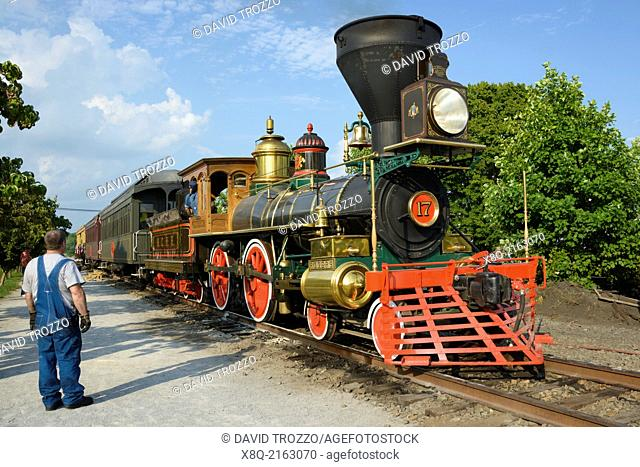 The William H. Simpson #17 is a faithful replica of the Civil War steam locomotive that carried Abraham Lincoln to deliver his now famous Gettysburg Address