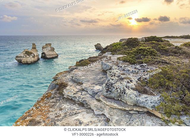 Torre dell'orso, province of Lecce, Salento, Apulia, Italy. The two sisters