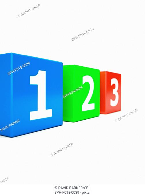 Three cubes with numerals 1, 2 and 3