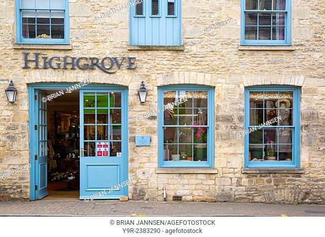 Front door of Prince Charles's Highgrove store in the Cotswold town of Tetbury, Gloucestershire, England, UK