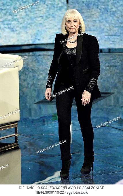The showgirl Raffaella Carra' during the tv show Che tempo che fa, Milan, ITALY-02-12-2018