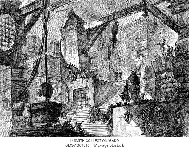 The well, Italy, 1749. This print by John Wilton-Ely depicts an imagined architectural feature from an etching by the Italian artist Giovanni Battista Piranesi
