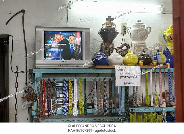 A television broadcasting a report on late Fidel Castro in Havanna, Cuba, 1 December 2016. The urn with the ashes of deceased revolutionary Fidel Castro is on...