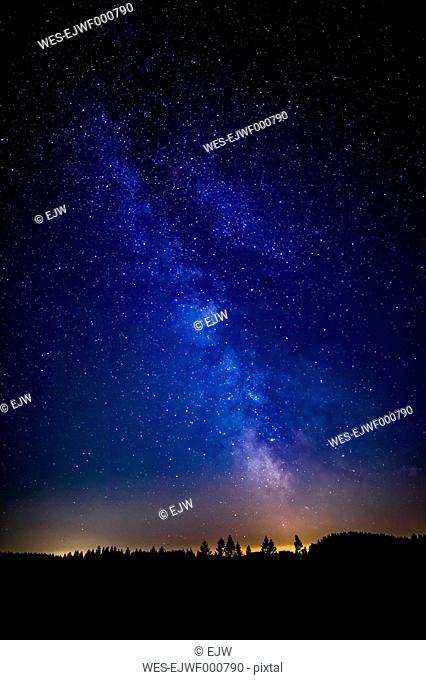 Austria, Upper Austria, Leopoldschlag, Night sky with stars of milky way