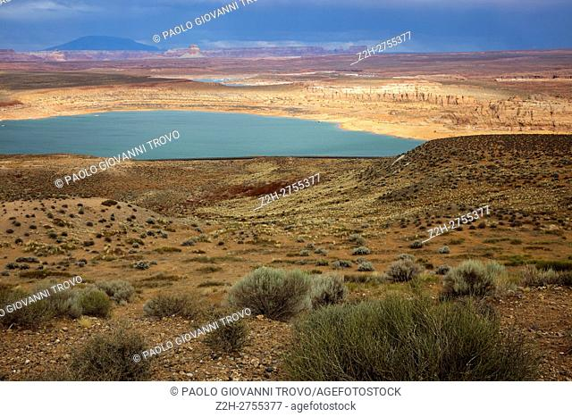 Panoramic view on famous lake Powell, Page, Utah, USA