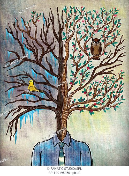 Illustration of man with tree head