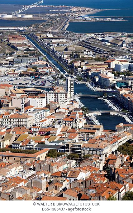 France, Languedoc-Roussillon, Herault Department, Sete, elevated city view from Mont St-Clair