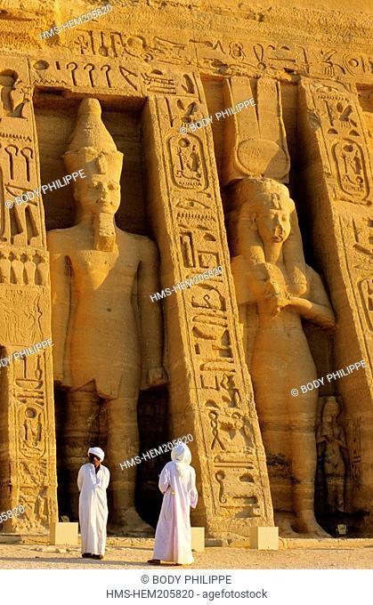Egypt, Nubia, Abu Simbel, site listed as World Heritage by UNESCO, Nefertari Temple dedicated to Hathor goddess at the edges of Lake Nasser