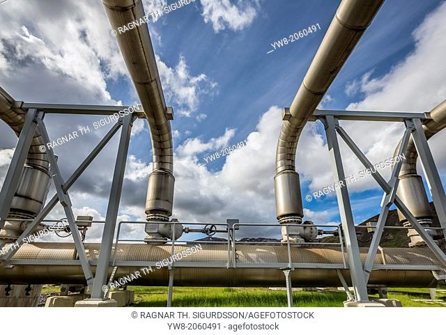 Pipes at Nesjavellir Geothermal Power Plant, Iceland