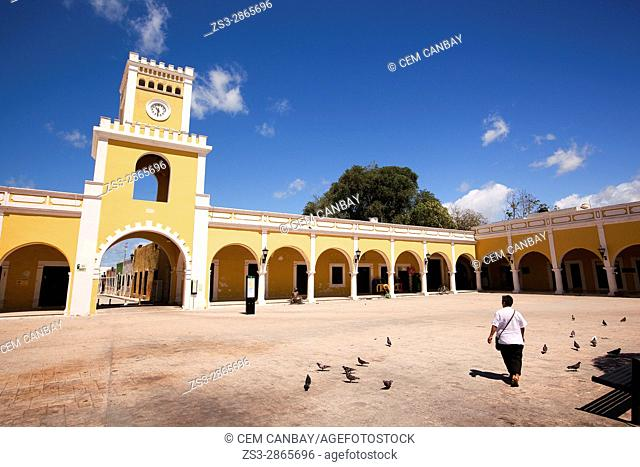 View to the Portales de San Francisco with the clock-tower at the San Francisco Square-Plazuela De San Francisco, Campeche City, Campeche State