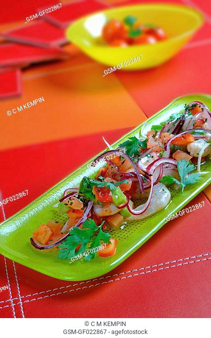 Shrimp ceviche raw fish marinated in lemon juice