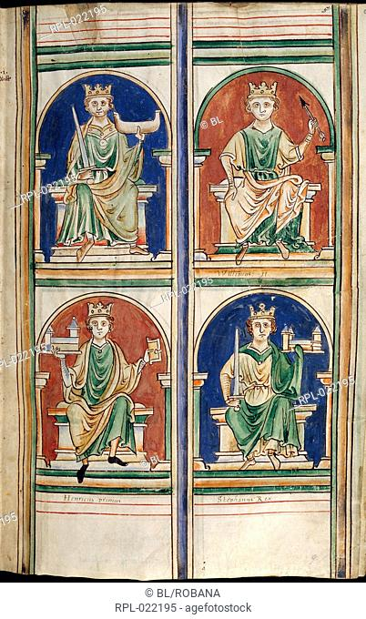 Four kings of England: above, William the Conqueror and William Rufus, below, Henry I and Stephen. Image taken from Abbreviatio chronicorum Angliae