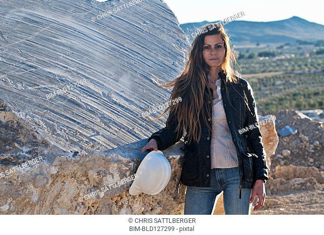 female engineer in quarry
