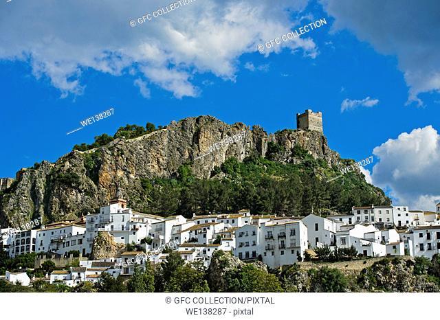 The White Town of Zahara de la Sierra at the foot of a Moorish castle, Cádiz province, Andalusia, Spain