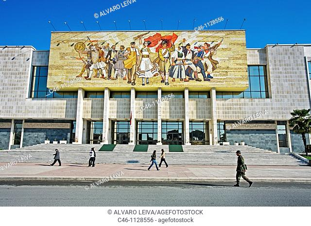 Socialist propaganda and hero mosaic on the National Museum. Skanderbeg square.Tirana. Albania