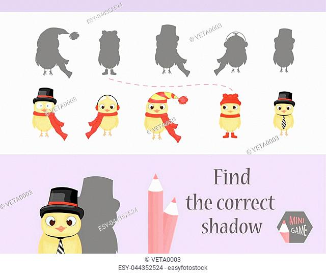 Find the correct shadow, education game for children. Cute Cartoon animals and Nature. vector illustration. chicken