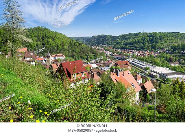 Germany, Baden-Wurttemberg, Oberndorf on the Neckar, view from the Bösinger Steige over the town Oberndorf in the upper Neckar Valley