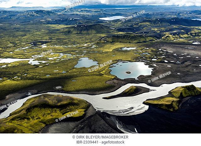 Aerial view, glacial river of Skaftá, moss-covered mountains, Langisjór region, Icelandic Highlands, Iceland, Europe
