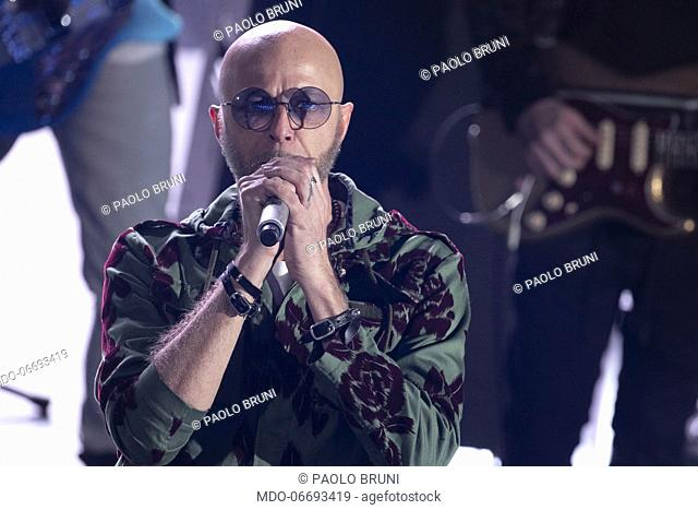 Pau, singer of italian band Negrita, during the episode of Domenica In dedicated to 69th Sanremo Music Festival. Sanremo (Italy), February 10th, 2019