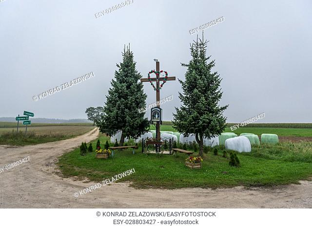 Wayside shrine in Wielkie Chelmy village in Kashubia region of Pomeranian Voivodeship in Poland