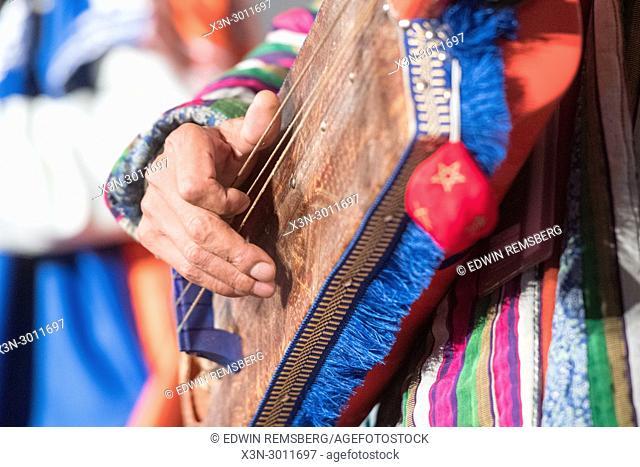Up close view of hand strumming strings of a sintir, Greensboro, North Carolina. USA