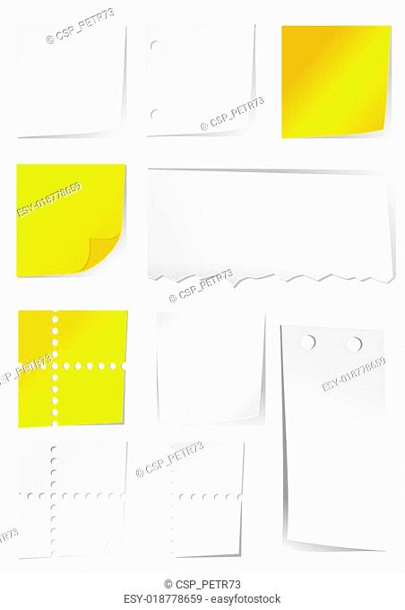 White and yellow paper with holes